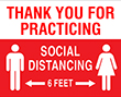 """8"""" x 10"""" Thank you for practicing social distance"""