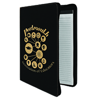 "9 1/2"" x 12"" Black/Gold with Zipper Leatherette Portfolio with Notepad"